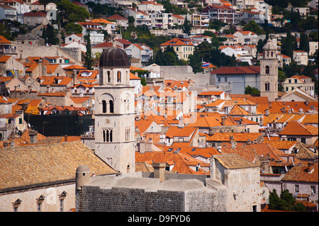 Franciscan Monastery and Dominican Monastery, Old Town, UNESCO World Heritage Site, from Fort Lovrijenac, Dubrovnik, - Stock Photo