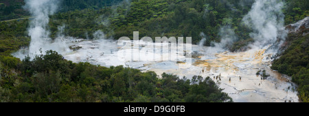 Steaming geothermal area at Orakei Korako Thermal Park, The Hidden Valley, North Island, New Zealand - Stock Photo