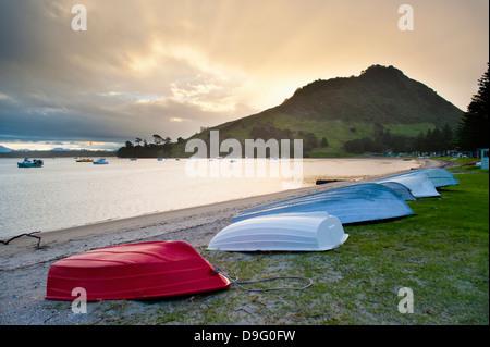 Boats at Mount Maunganui at sunset, Tauranga, North Island, New Zealand - Stock Photo