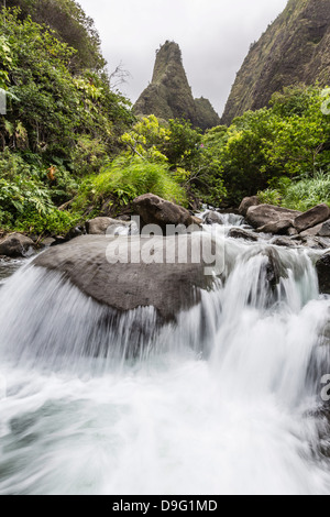 Waterfall in Iao Valley State Park, Maui, Hawaii, United States of America - Stock Photo