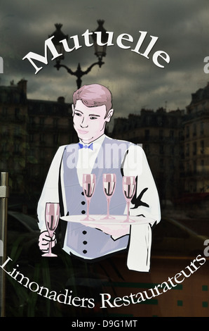 Window painting of waiter on cafe entrance, Paris, France - Jan 2012 - Stock Photo