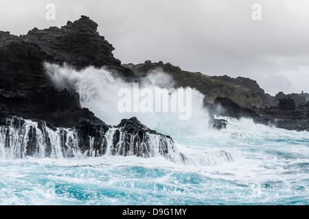 Huge surf at the Olivine Pools on the northwest coast of West Maui, Hawaii, United States of America - Stock Photo