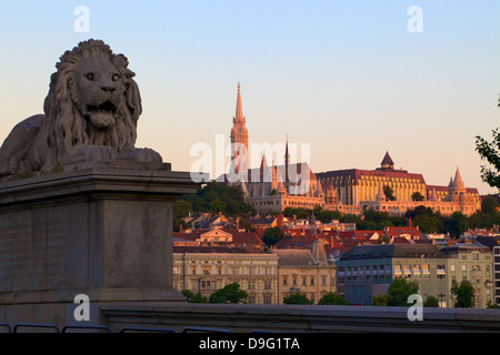 Chain Bridge, Matyas Church (Matthias Church) and Fisherman's Bastion, Budapest, Hungary - Stock Photo