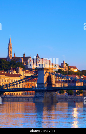 Chain Bridge, Matyas Church (Matthias Church) and Fisherman's Bastion, Budapest, Hungary - Stock Photo