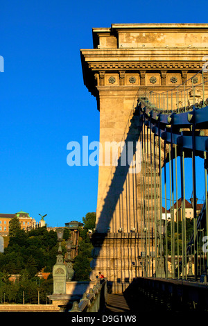 Chain Bridge with Buda Castle in background, Budapest, Hungary - Stock Photo