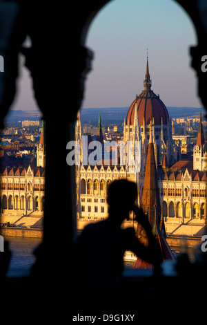 Restaurant at Fisherman's Bastion overlooking the city, Budapest, Hungary - Stock Photo