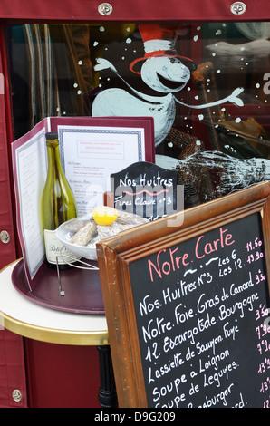 Menu outside cafe, Paris, France - Jan 2012 - Stock Photo