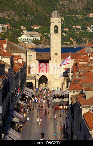 Clock Tower and Stradun, Old City, UNESCO World Heritage Site, Dubrovnik, Croatia - Stock Photo