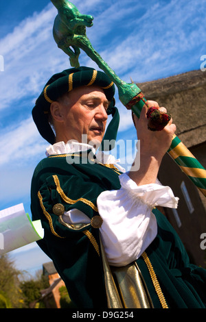 Leader of the Procession for the Old Annual Custom of Bottle-kicking, Hallaton, Leicestershire, England, UK - Stock Photo