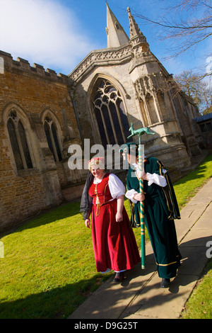 Leaders of the Procession for the Old Annual Custom of Bottle-kicking, Hallaton, Leicestershire, England, UK - Stock Photo