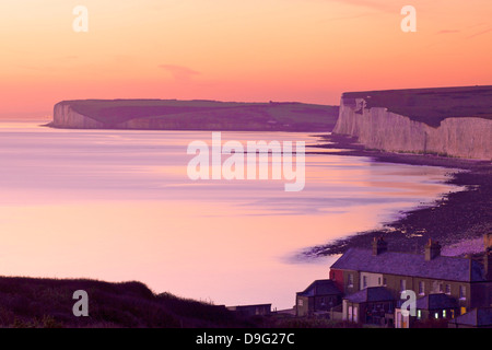 Seven Sisters from Birling Gap at sunset, South Downs National Park, East Sussex, England, UK - Stock Photo