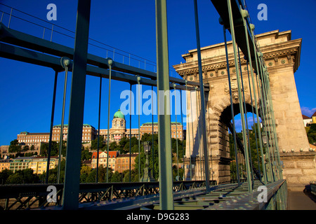 Chain Bridge and Hungarian National Gallery, Budapest, Hungary - Stock Photo