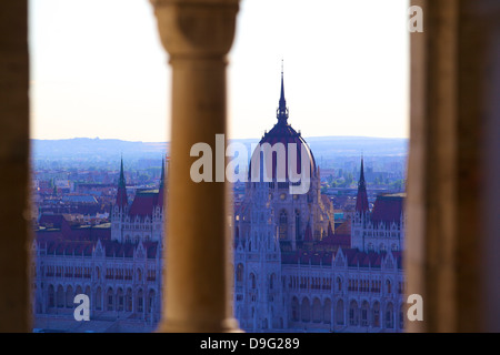 View of Hungarian Parliament Building from Fisherman's Bastion, Budapest, Hungary - Stock Photo