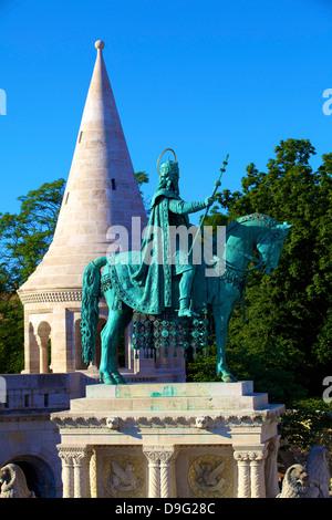 St. Istvan statue, Fisherman's Bastion, Budapest, Hungary - Stock Photo