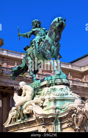 Statue of Prince Eugene of Savoy, Buda Castle, UNESCO World Heritage Site, Budapest, Hungary - Stock Photo