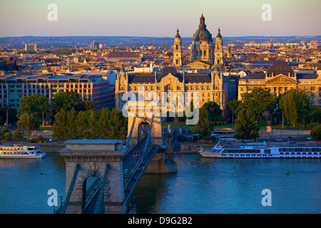 Budapest skyline and River Danube, UNESCO World Heritage Site, Budapest, Hungary - Stock Photo