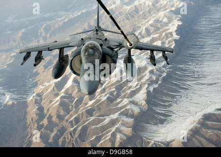 February 24, 2012 - A U.S. Marine Corps A/V-8B Harrier receives fuel over Afghanistan from a KC-10 Extender. - Stock Photo
