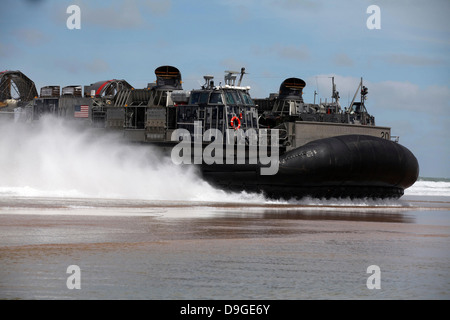 April 9, 2012 - A U.S. Navy landing craft air cushion glides onto a Moroccan beach during Operation African Lion - Stock Photo