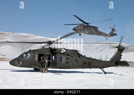 Two U.S. Army UH-60 Black Hawk helicopters. - Stock Photo
