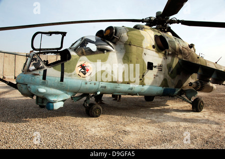 An MI-24 Russian helicopter. - Stock Photo