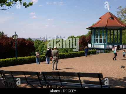 View from Horniman Gardens in Forest Hill, South London with City skyline in distance - Stock Photo