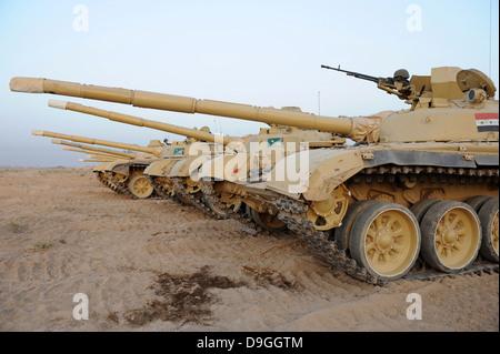 Iraqi T-72 tanks from Iraqi Army Brigade - Stock Photo