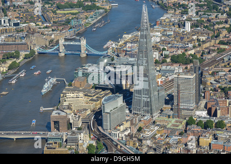 Aerial photograph of the Shard with the River Thames and Tower bridge. - Stock Photo