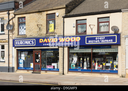 David Wood Domestic Appliances on High Street West, Glossop, an independent shop, part of the Euronics electricals - Stock Photo