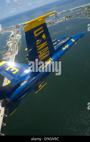 July 12, 2012 - An F/A-18 Hornet of the Blue Angels during a practice flight demonstration over Pensacola Beach, - Stock Photo