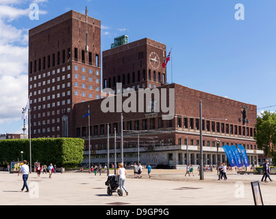 Oslo City Hall, Norway - where the Nobel Peace Prize is presented - Stock Photo