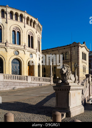 Norwegian Parliament building in Oslo, Norway, known as the Storting or Stortinget - Stock Photo