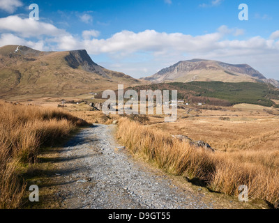 A view down Snowdon's Rhyd Ddu path to the Nantlle Ridge, Y Garn and Mynydd Mawr - Stock Photo