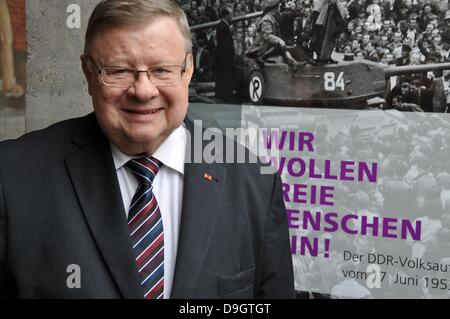 Participant of anti-communist uprising in the former German Democratic Republic in 1953, Klaus Gronau, is seen in - Stock Photo