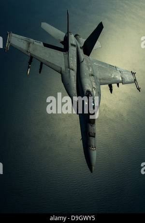 A U.S. Navy F/A-18E Hornet over Southwest Asia. - Stock Photo
