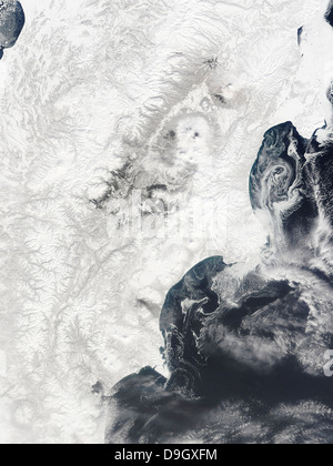 April 2, 2010 - Volcanoes in central Kamchatka Peninsula, eastern Russia. - Stock Photo