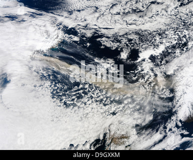 Ash plume from Eyjafjallajokull Volcano over the North Atlantic Ocean. - Stock Photo
