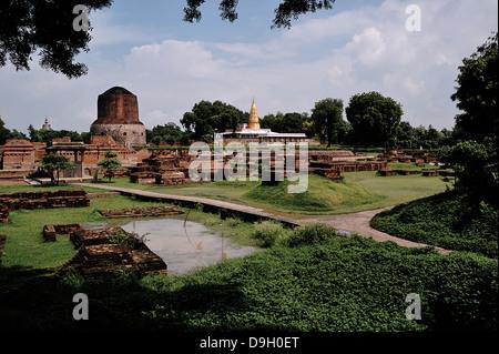 Sarnath is the deer park where Gautama Buddha found enlightenment. Uttar Pradesh, India - Stock Photo