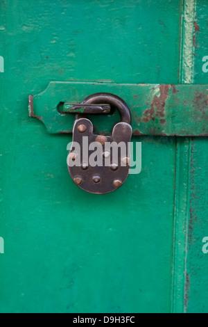 Asia, India, Karnataka, Mysore, old padlock - Stock Photo