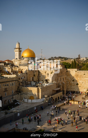 View over the wailing wall known also as the western wall and the Dome of the Rock mosque, Jerusalem, Israel. - Stock Photo