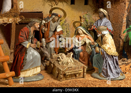 Nativity scene and Magi Kings, Christmas, Spain, Europe - Stock Photo