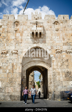 The Lions Gate in the old city, Jerusalem, Israel. - Stock Photo