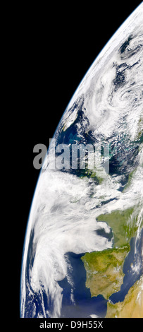 View of Earth from space showing phytoplankton bloom between Iceland and the United Kingdom. - Stock Photo