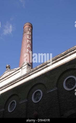 Chimney of the Truman Brewery Brick Lane London - Stock Photo