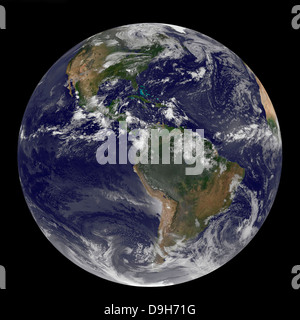 Full Earth showing North and South America on August 17, 2010. - Stock Photo