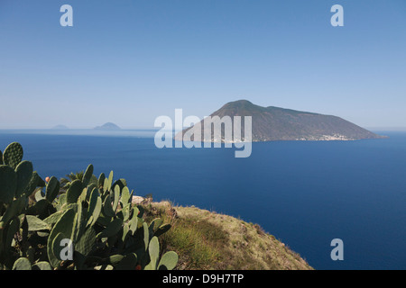 Quattopani viewpoint over Salina, Filicudi and Alicudi far left, Lipari, Aeolian Islands, Italy - Stock Photo