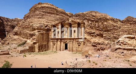Rock grave ad-Deir or Monastery in Petra, Jordan, Middle East - Stock Photo