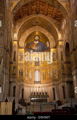 Norman Cathedral of Monreale, near Palermo, Sicily, Italy - Stock Photo