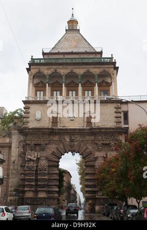 Porta Nuova City Gate, Palermo, Sicily, Italy - Stock Photo