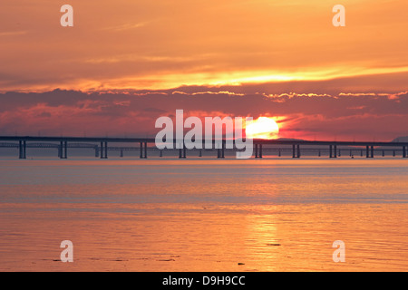 Sunset over the Firth of Tay, Dundee - Stock Photo