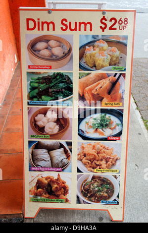Dim Sum menu sign outside a Chinese restaurant in Vancouver, BC, Canada - Stock Photo
